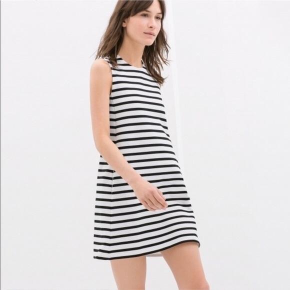 61dac103 Zara Dresses | Knit Black And White Striped Dress | Poshmark